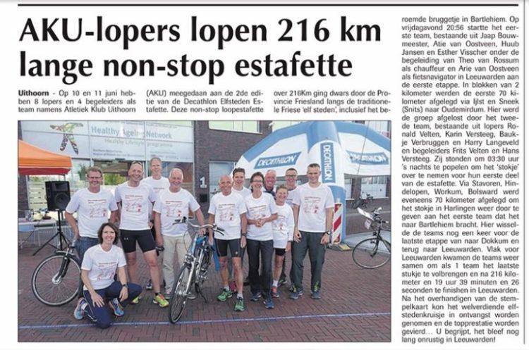 Decathlon Elfsteden Estafette Krantenartikel